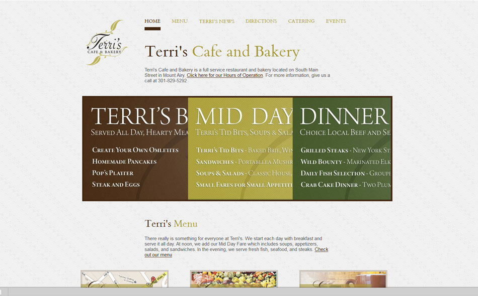 Terris Cafe And Bakery Website