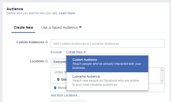 Engagement Targeting Facebook Ads Create Audience