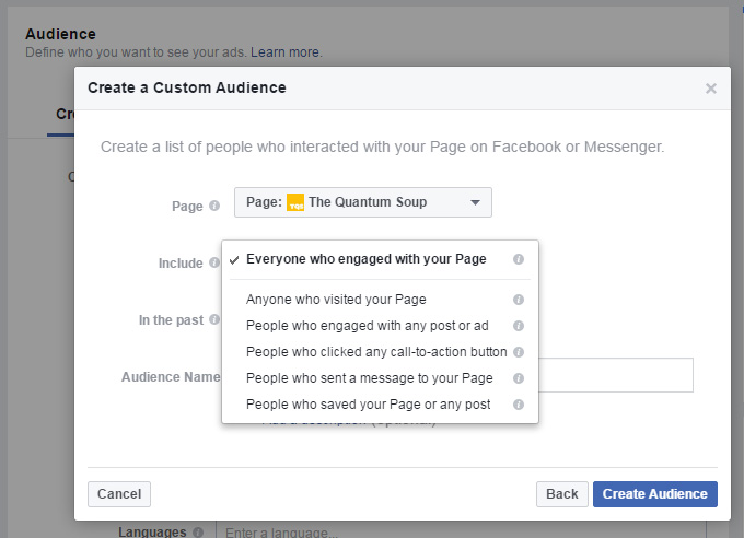 Facebook Ads Create Audience Engagement on Facebook Options