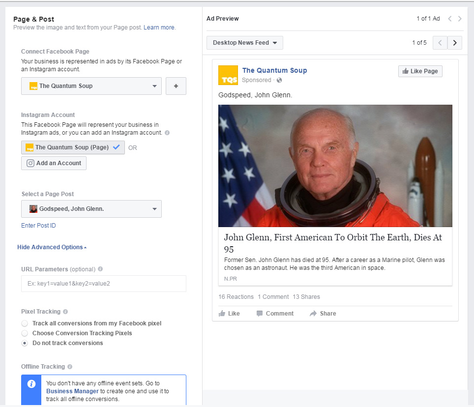 Facebook Ads Engagement Page and Post Options