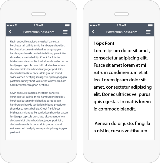 The Difference Between 9px Font and 16px Font on Mobile Devices